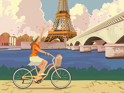 Paris Travel Poster france eiffel landscape travel retro travel poster poster vintage illustration paris