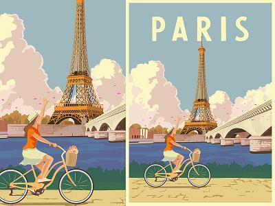 Paris ~ Travel Poster france bycicle trip posters parisian eiffel retro vintage classic travel poster poster travel illustration paris