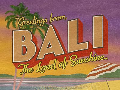 Greetings from Bali - Travel Postcard tropics summer tropical postcard font vintage font bali typography retro classic travel poster travel poster illustration vintage
