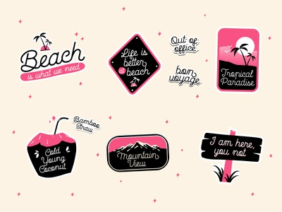 Fun Travel Sticker Pack autumn summer beach mountain fun holiday design holiday pink happy font download type design typeface vector stickers typography classic retro travel illustration vintage
