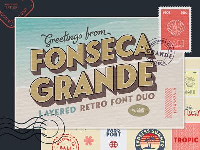 Fonseca Grande Retro Fonts layered font vintage font display font sans serif postcards font download font branding typography classic travel retro poster illustration vintage