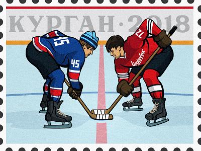 Russian classics sports stamp postage stamp hockey field russian hockey hockey ad banner vector hockey player illustration ice hockey sportbranding sport