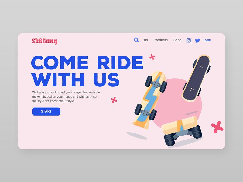 Skate Shop Landing Page rosa pink skate branding landing page vector adobe xd shop web html5 uxui illustration ux ui