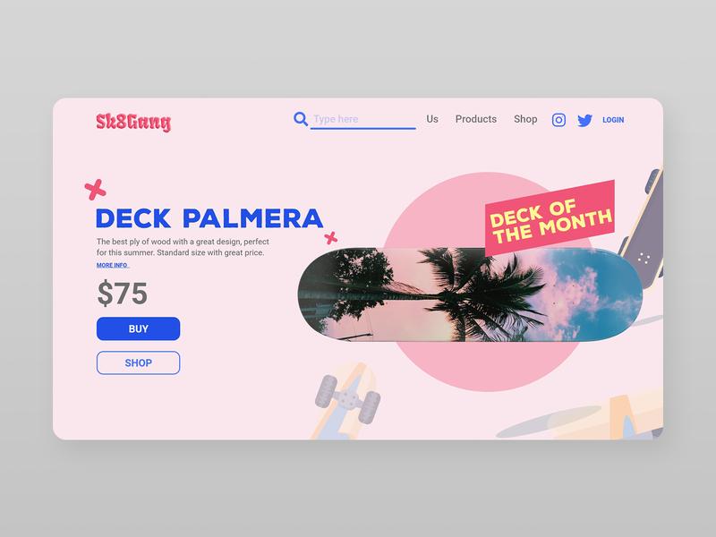 Skate Shop UI palmera deck rosa pink skate web branding adobe xd shop html5 uxui illustration ux ui