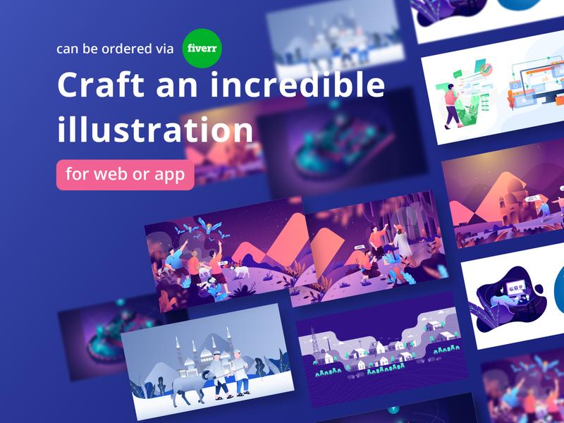 Order an Incredible Illustration fiverr.com crafted animation order wonderful graphic design isometric flat minimal craft design ux uiux ui web app incredible illustraion fiverr gigs