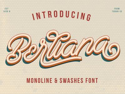 Berliana Monoline Font typeface. lettering monoline typogaphy freebie font awesome font family font design font typeface