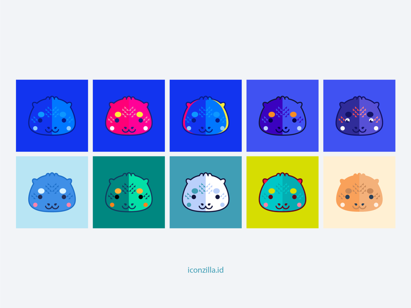 Which one do you think is good? blue model character mascot ilustration vector art godzilla icon kawaii vector illustration vector