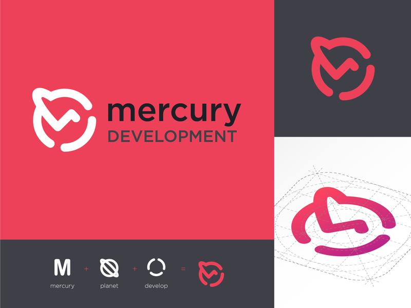 Logo : Mercury Development android app android ios application development minimalist vector icon typography website branding app web logo ux ui