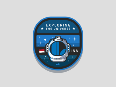 Exploring The Universe universe space patch branding vector icon flat design illustration
