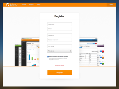Tuleap - Register alm tuleap web application register form account create
