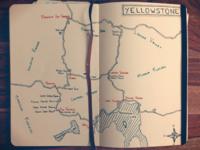 USA Road Trip Moleskine - Yellowstone Map