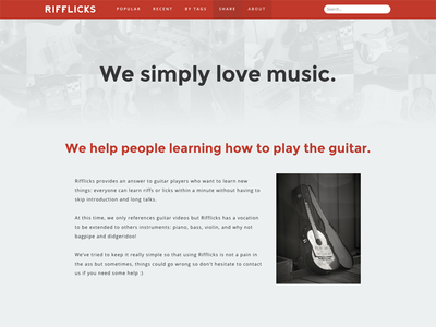 "Rifflicks ""About page"" about music guitar map"