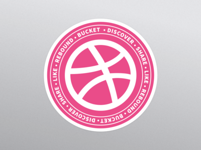 Dribbble sticker circle pink mule dribbble sticker