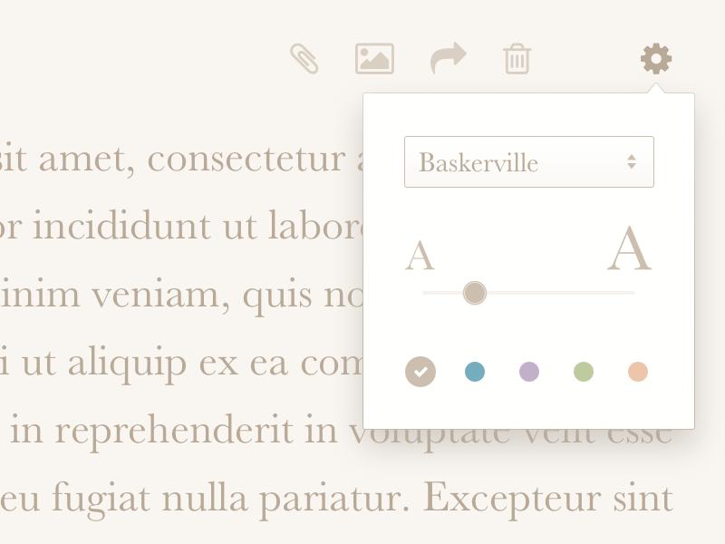 DailyUI 007 - Settings popover slider font writer settings dailyui