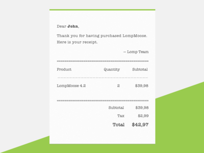 DailyUI - Email Receipt total purchase receipt email dailyui
