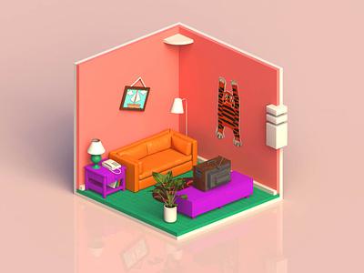 Simpson Living Room isometric art cinema4d