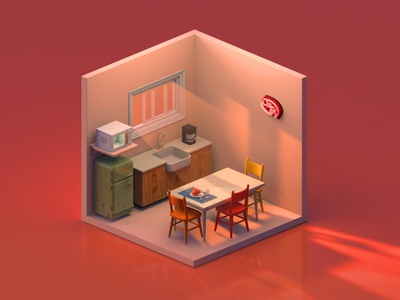 Dining Room isometric art cinema4d