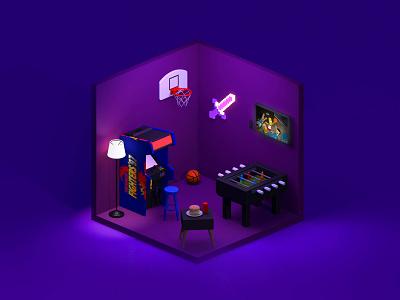 Entertainment Room isometric art cinema4d