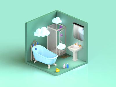 Bathroom isometric art cinema4d