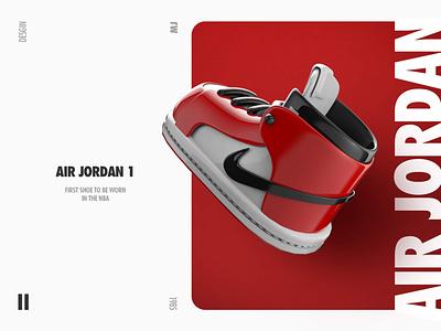 AJ1 Poster modeling shoe photoshop cinema4d