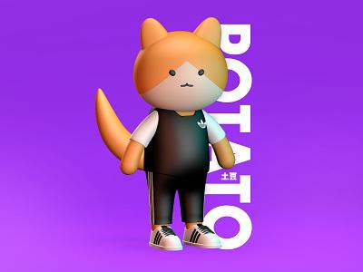 I am Potato adidas cat cinema4d