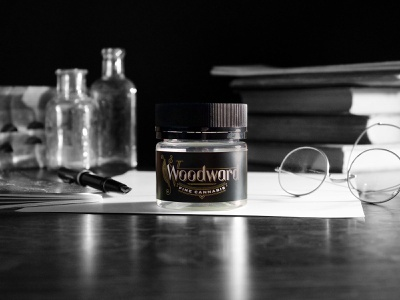 Woodward Fine Cannabis brand photography gold identity brand identity black and white vintage okthx logo brand photography woodward cannabis