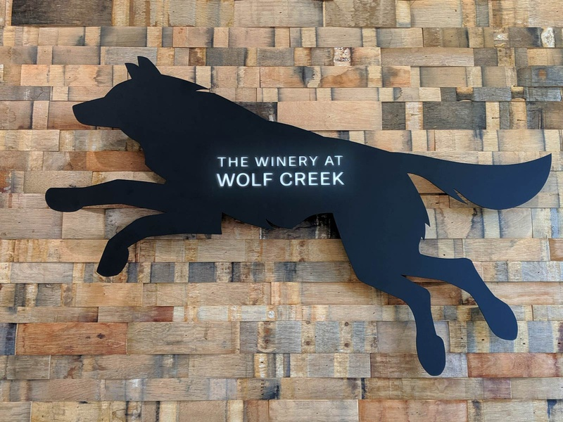 Wolf Sign identity sign steel handmade winery brand logo laser signage wolf okthx