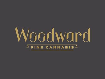 Woodward Fine Cannabis simplified logo cannabis okthx woodward fine cannabis charcoal gold identity branding logotype logo typography type