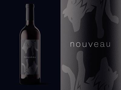 Nouveau bottle mockup mockup typography identity branding black  white charcoal black okthx nouveau wine label wine winery