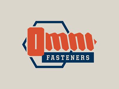 Omni Fasteners logo logo design nut bolt screw okthx vintage tan blue orange logo lockup logo