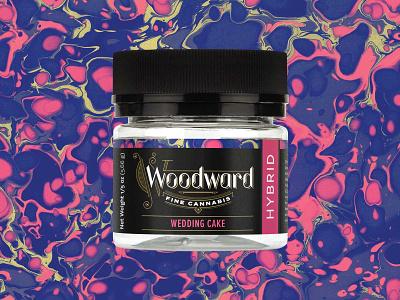 Woodward Fine Cannabis Jar identity wedding cake gold black purple pink ornate marbled paper branding okthx packaging cannabis