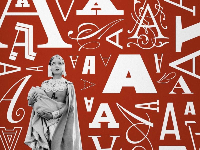 Scarlet Letter red typography winery wine label wine vintage photo okthx illustration collage