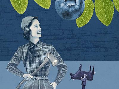 Blue blueberry winery wine label wine vintage photo okthx illustration collage