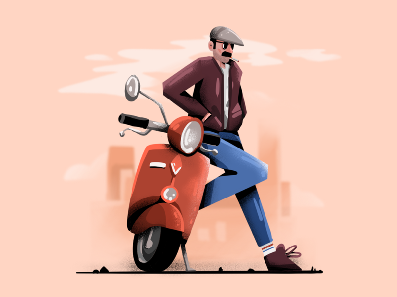 Vespa illustration spring vespa texture user interface ui mobile tablet illustrations minimal clean design flat illustration character exploring character design characterdesign bright color combinations ipad procreate adobe illustrator