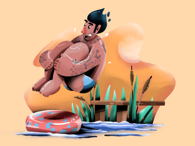 Jumping in the water pool summer user interface ui texture mobile tablet illustrations minimal clean design ipad procreate flat illustration character exploring character design characterdesign bright color combinations adobe illustrator