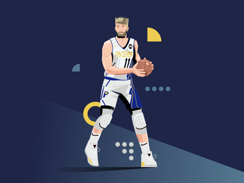Domantas Sabonis indiana pacers sabonis basketball player nba user interface ui minimal clean design flat illustration character exploring character design characterdesign bright color combinations adobe illustrator