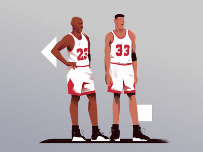 23 33 chicago bulls the last dance jordan pippen nba poster vector illustration minimal clean design flat illustration character design characterdesign bright color combinations art adobe illustrator