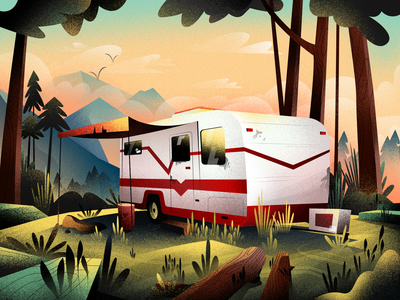 Cosy Summer Evening sunset nature forest trailer vector illustration vectorart bright color combinations cosy summer evening mobile tablet illustrations texture grain flat illustration adobe illustrator affinity designer