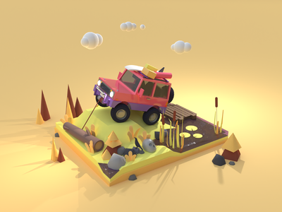 Off-Road 3d Illustration render 3d illustration 3d art forest 3d car isometric art car jeep offroad bright color combinations ui ux illustrator illustration
