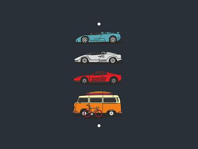 dream cars. icons bugatti lamborghini vectorart vector illustrator illustration dribbble design car ferrari