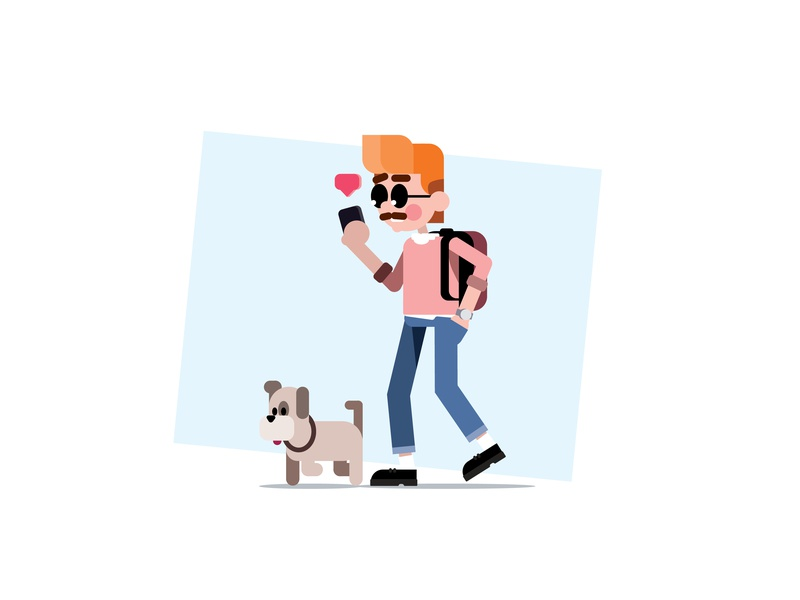 strolling around. portrait vectorart vector illustrator illustration icons dribbble design characterdesign character