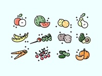 fruits/vegetables icons.