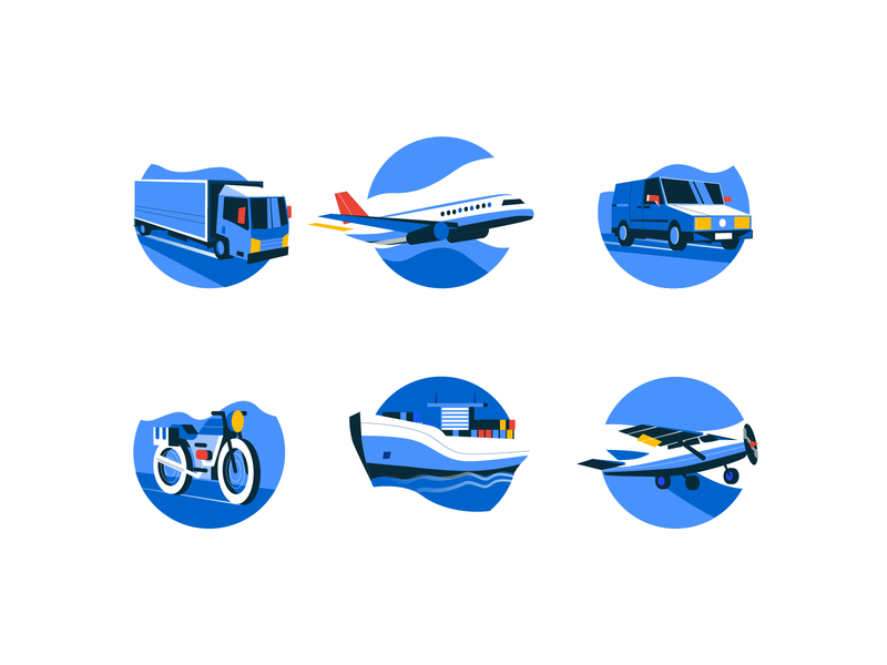 Logistics icons transport logistic bright color combinations illustrarion ux ui vector icons user interface user experience service icons minimal clean web design ico icons interface icon font