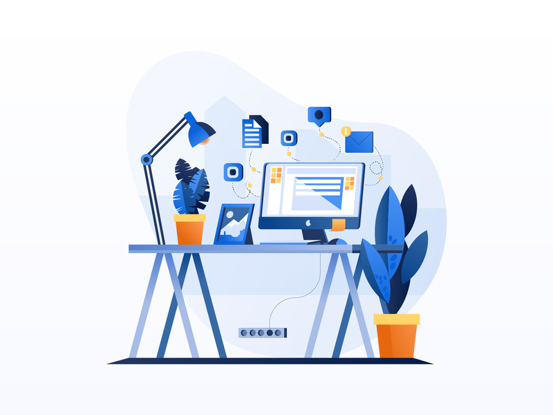 Work & Office Illustrations flat gradient icon mobile tablet illustrations character design visual  identity design exploration bright color combinations illustration pack work office environment user interface ui user experience minimal clean design vector illustration