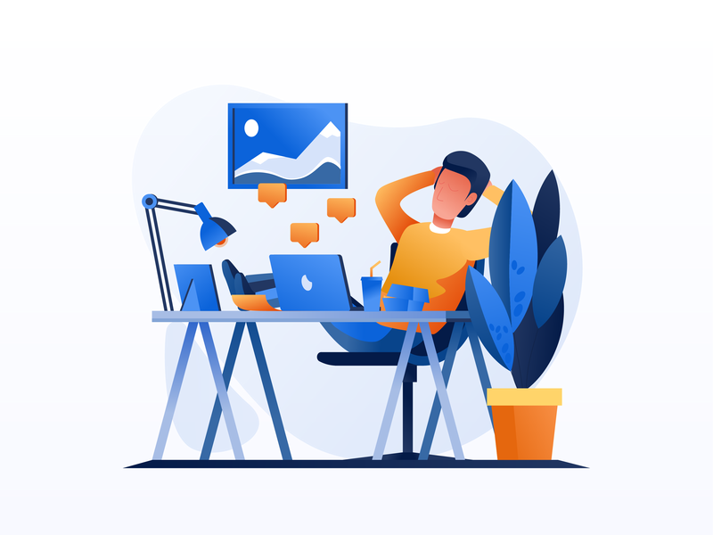 Work & Office Illustrations work office environment visual identity vector illustration user interface ui user experience mobile tablet illustrations minimal clean design illustration pack flat gradient icon design exploration character design bright color combinations