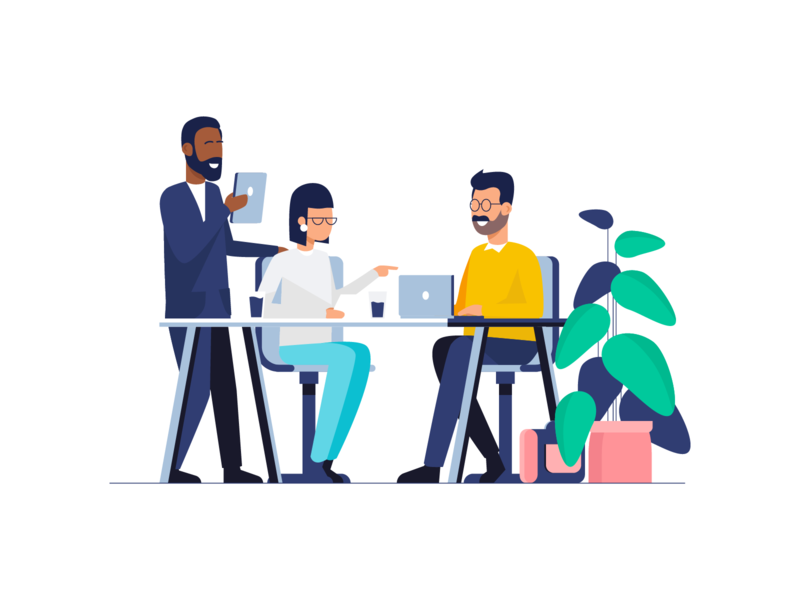 Teamwork & Startup Illustrations work office environment visual identity vector illustration user interface ui user experience mobile tablet illustrations minimal clean design illustration pack flat gradient icon design exploration character design bright color combinations