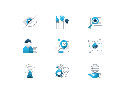 Weaver Labs Icons vector illustration user interface ui minimal clean design design exploration dark blue white colors bright color combinations brand style guide blue color theme service icons icons interface icon font
