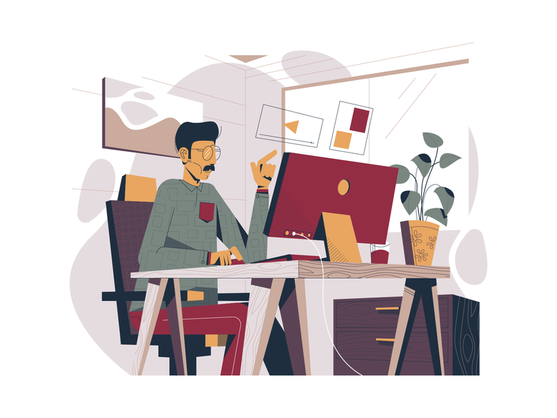 Work space illustration work office environment mobile tablet illustrations working space vector illustration user interface ui minimal clean design flat illustration design exploration characterdesignchallenge characterdesign