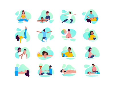 Camp icons nutrition massage therapy yoga medical care vector illustration user interface ui service icons minimal clean design icons interface icon font design exploration bright color combinations brand style guide