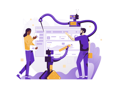 AI-Powered Investing Platform illustration user interface ui blue and yellow flat illustration platform artificial intelligence art visual identity vector illustration minimal clean design design exploration character design bright color combinations